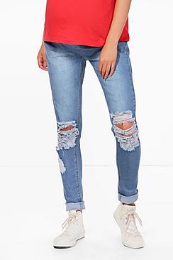 indea jeans skinny premaman elasticizzati con strappi alle ginocchia