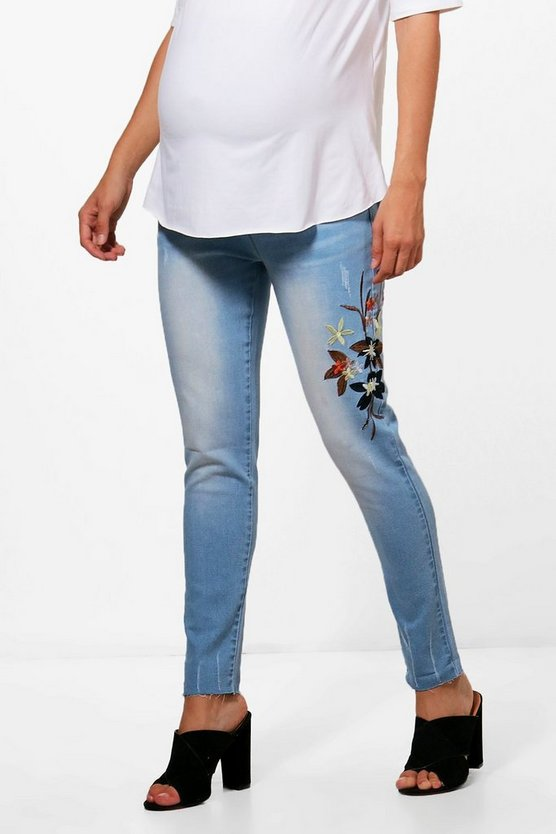 Maternity Anita Embroidered Skinny Jeans
