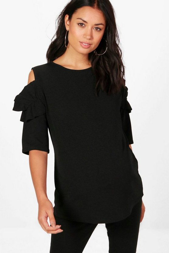 Maternity Sara Frill Sleeve Cold Shoulder Top