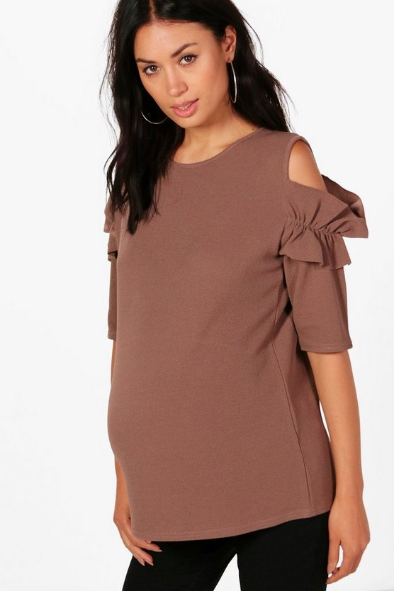 Maternity Frill Sleeve Cold Shoulder Top