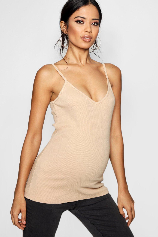 Womens Mama Geripptes Trägedressing gownrteil mit V-Ausschnitt - Hautfarben - 34, Hautfarben - Boohoo.com