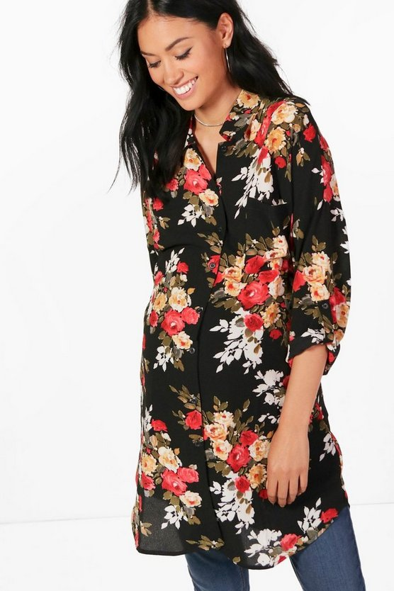 Maternity Neve Floral Printed Oversized Shirt