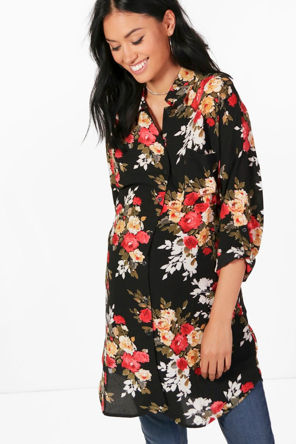 Image result for Maternity Neve Floral Printed Oversized Shirt