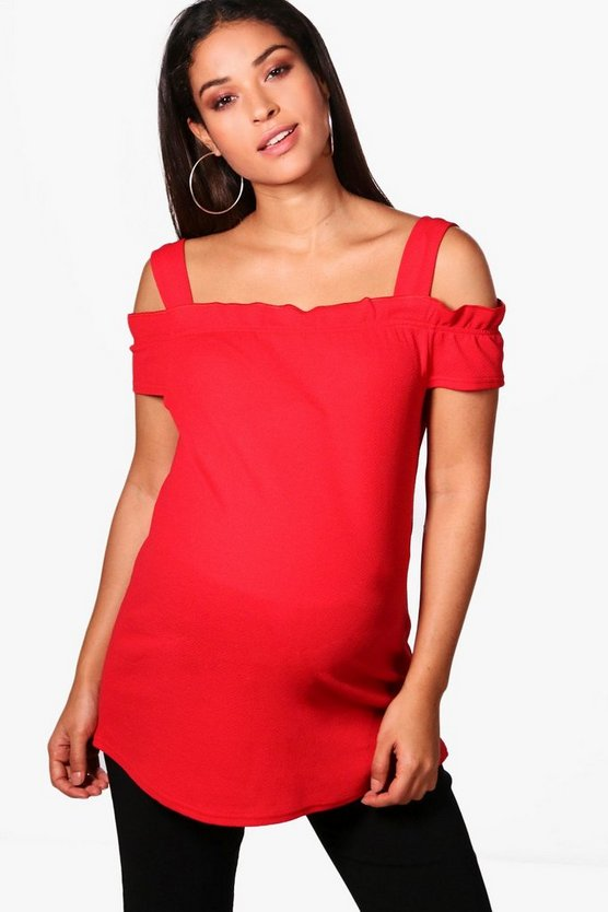 Maternity Sandy Box Pleat Bardot Top