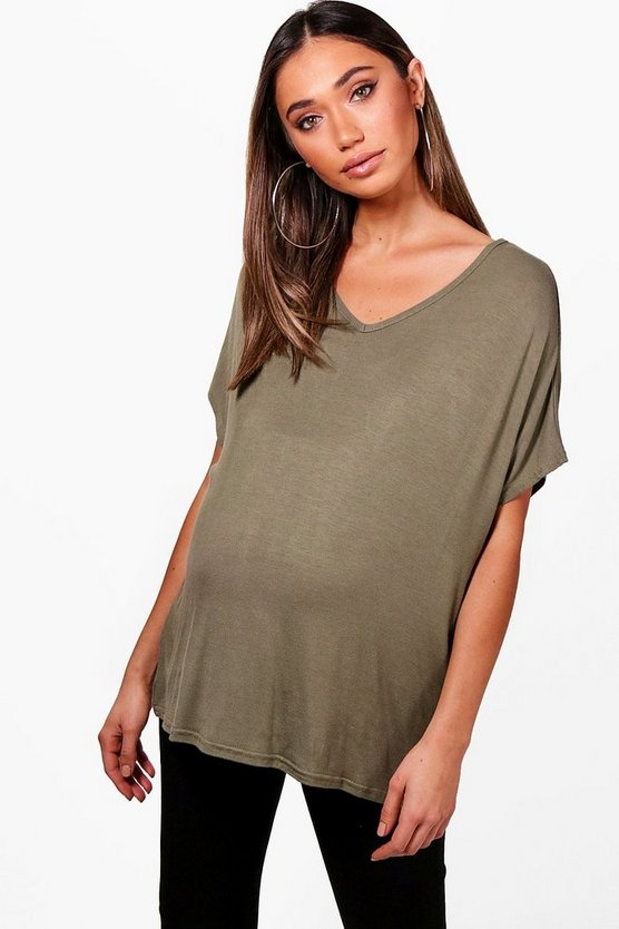 Maternity Oversized Boyfriend V Neck Tee