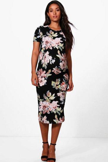 Black Maternity  Floral Printed Short Sleeve Dress