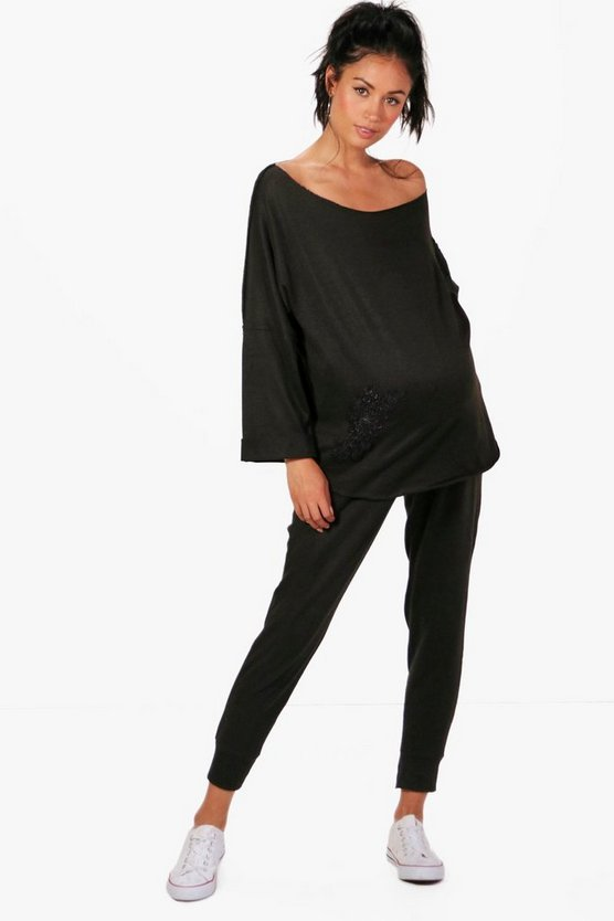Maternity Sasha Applique Sweat Top + Loungewear Set