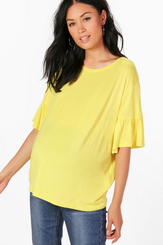 Maternity Nina T Shirt With Frill Sleeves