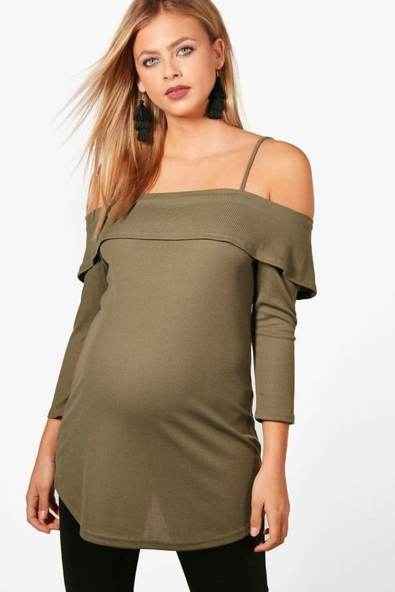 Maternity Shona Off Shoulder Ribbed Top
