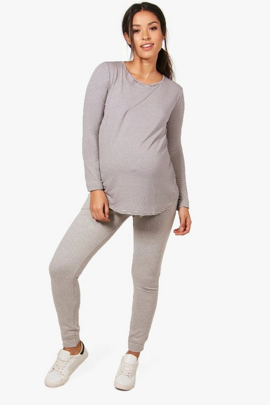 Maternity Hellie Lounge Stripe Crew Neck Tee + Jogger Set
