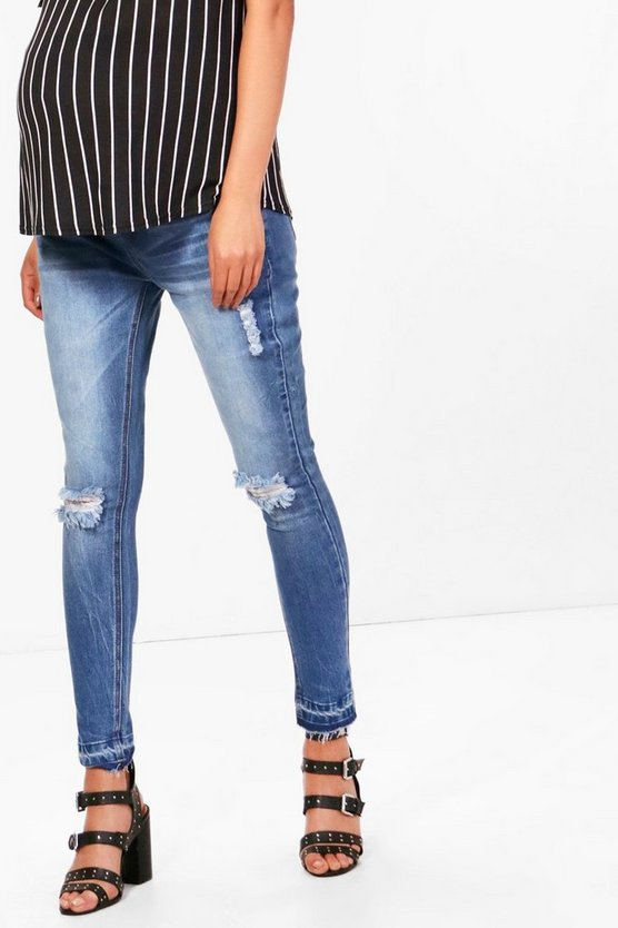 Maternity Faye Rip Skinny Over The Bump Jean