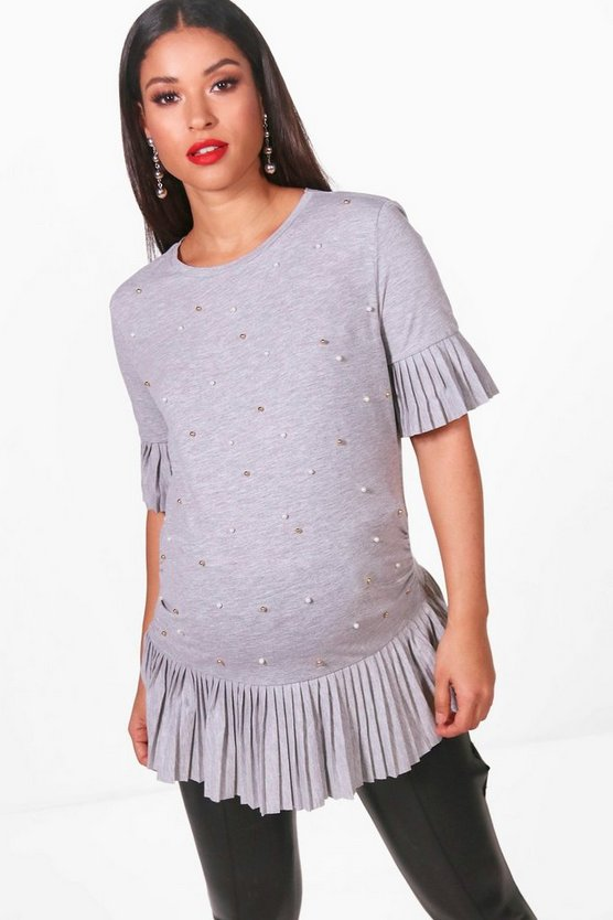 Maternity Becca Pearl Embellished Pleated Top