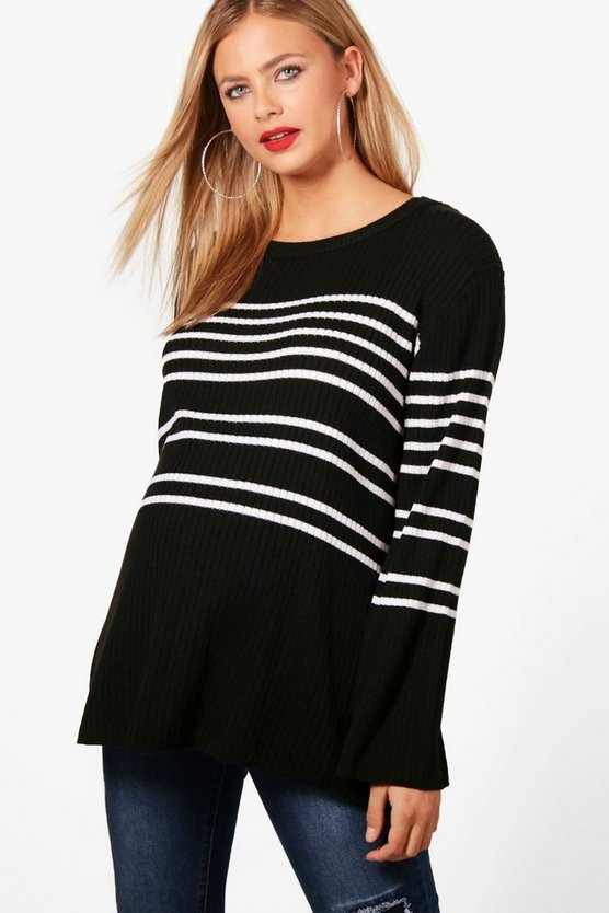 Maternity Charlotte Stripe Wide Sleeve Jumper