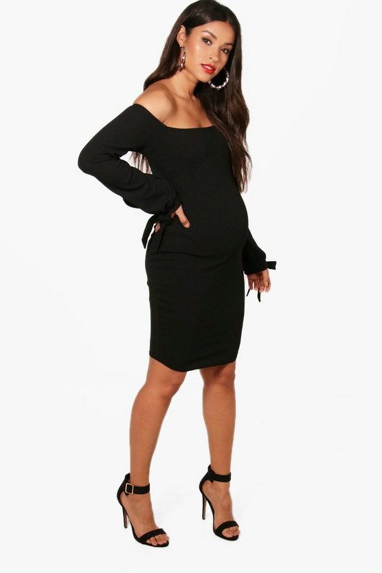 Maternity Off Shoulder Tie Sleeve Midi Dress