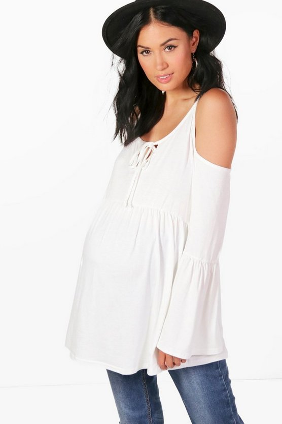 Maternity Eva Jersey Flared Sleeved Ruffle Top