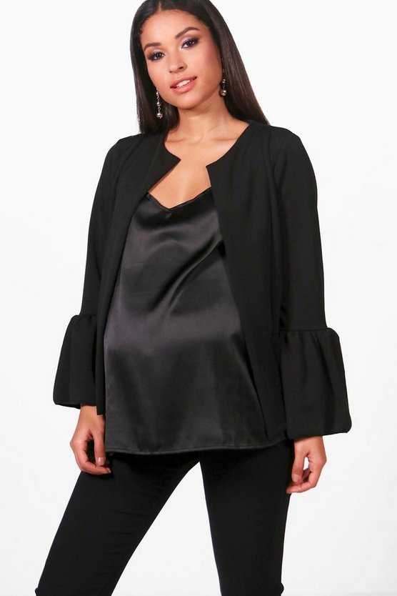 Maternity Iris Ruffle Hem Collarless Jacket