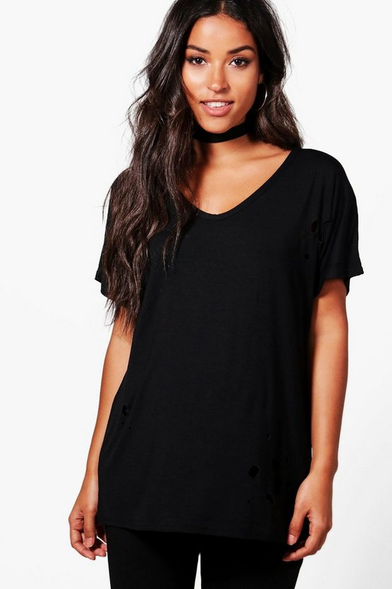 Maternity Lauren Distressed Oversized Tee