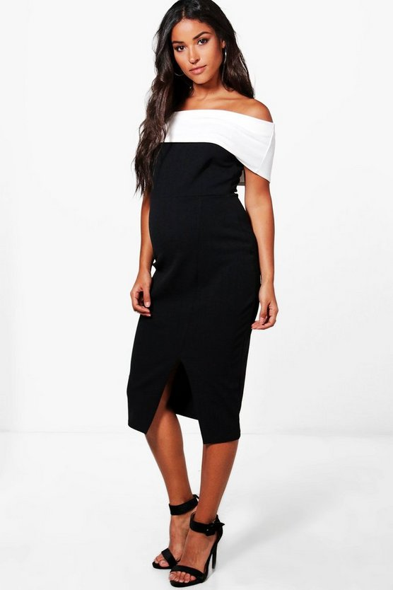 Maternity Ellie Contrast Off The Shoulder Midi Dress