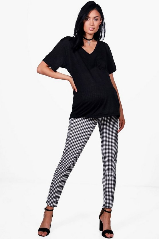 Maternity Lily Gingham Skinny Trousers With Stretch