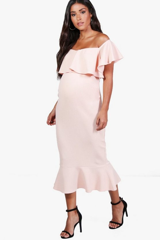 Maternity Lola Off The Shoulder Frill Midi Dress