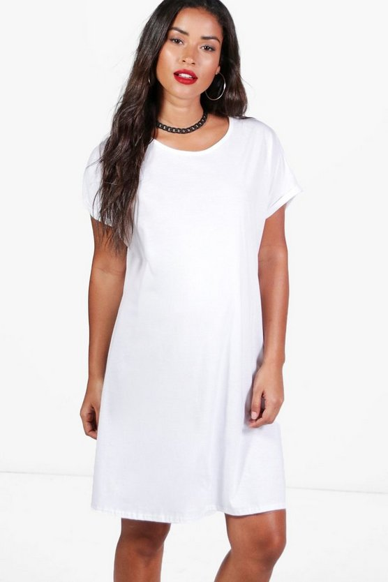 Maternity Kate Oversized Roll Up T-Shirt Dress