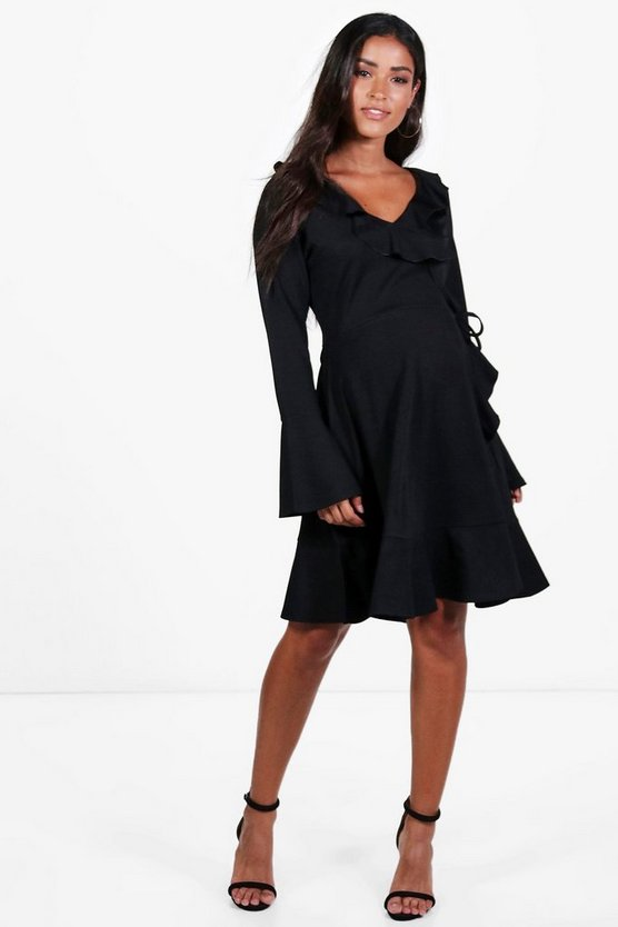 Maternity Esther Long Sleeve Frill Wrap Dress