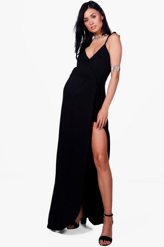 Maternity Mia Ruffle Shoulder Wrap Maxi Dress