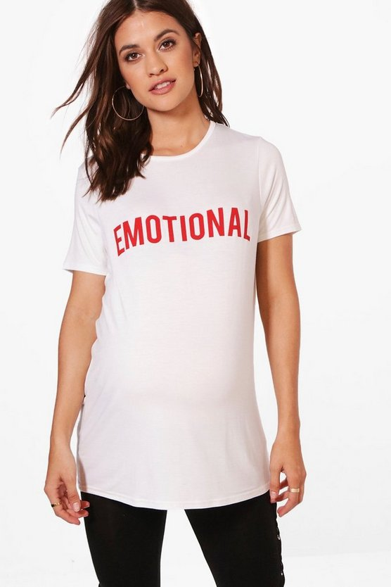 Maternity Sasha Emotional Slogan T-Shirt