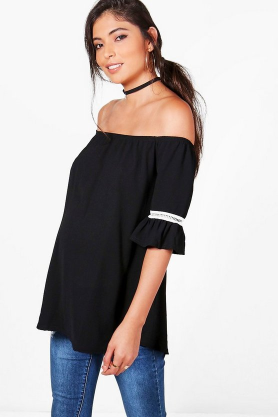 Maternity Tegan Off The Shoulder Embroidered Top
