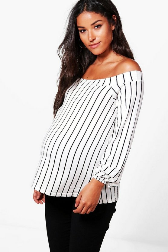 Maternity Megan Off The Shoulder Stripe Top