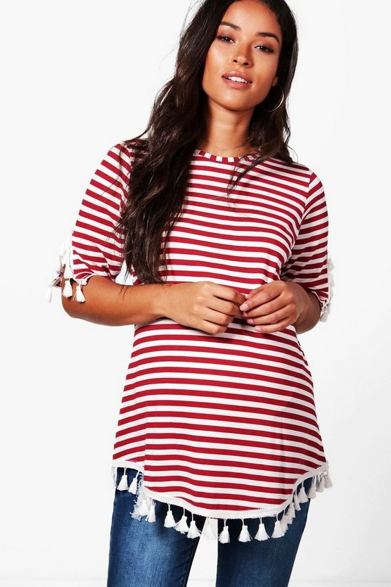 Maternity Ellie Stripe Tassel Oversized T-shirt