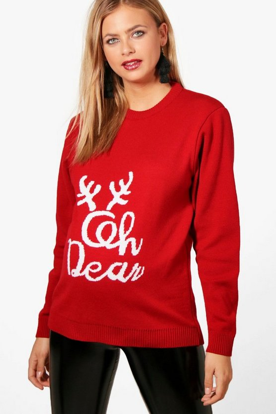 Maternity Louise Oh Deer Christmas Jumper
