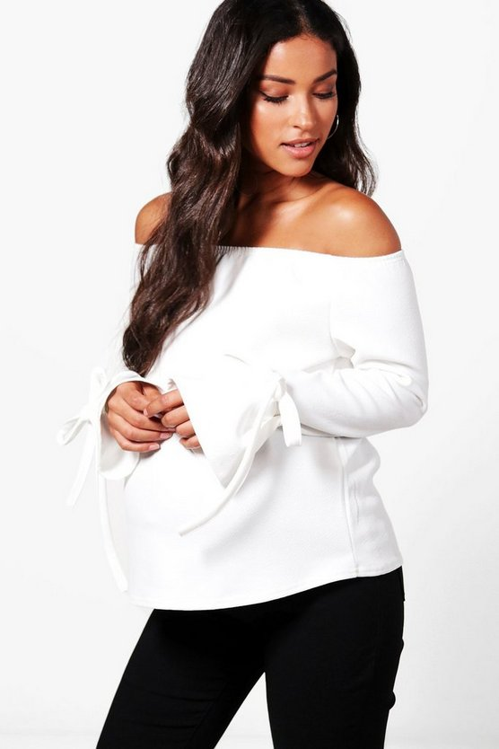 Maternity Laura Off The Shoulder Tie Sleeve Top