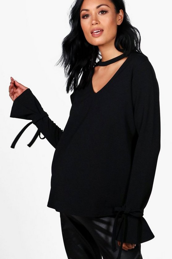 Maternity Loren V Neck Crepe Tie Sleeve Top