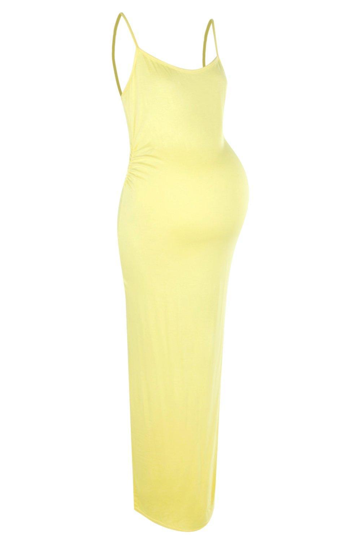 NEW-Boohoo-Womens-Maternity-Sandy-Strappy-Maxi-Bodycon-Dress-in-Viscose
