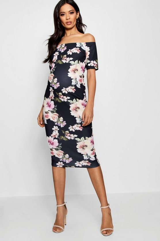 Maternity Abi Bardot Dress With Half Sleeve