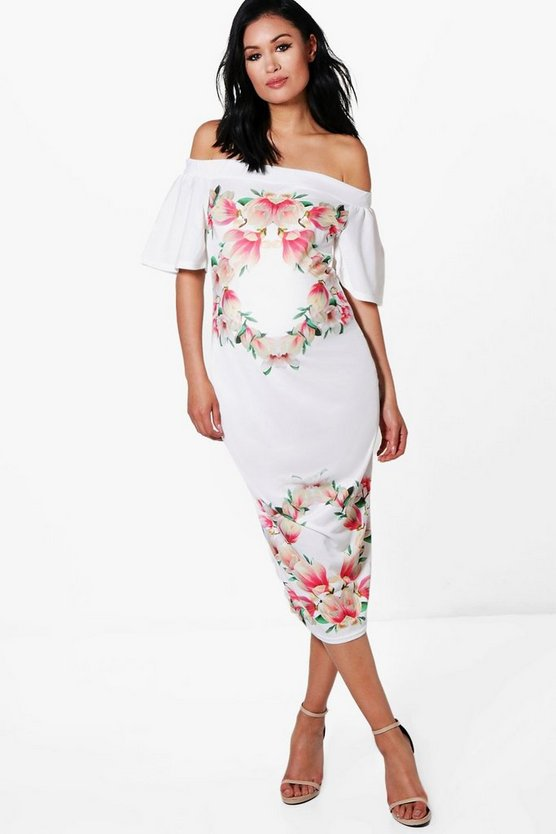 Maternity Eva Off The Shoulder Floral Midi Dress