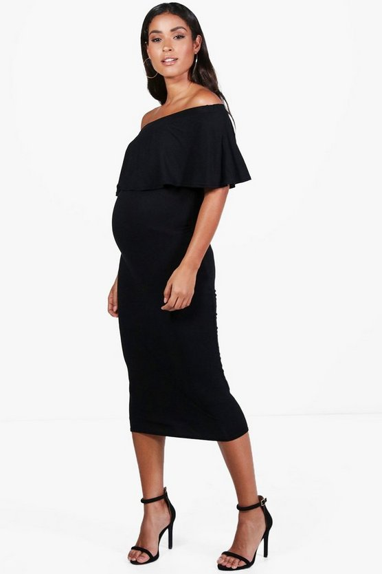 Maternity Mia Off The Shoulder Midi Dress