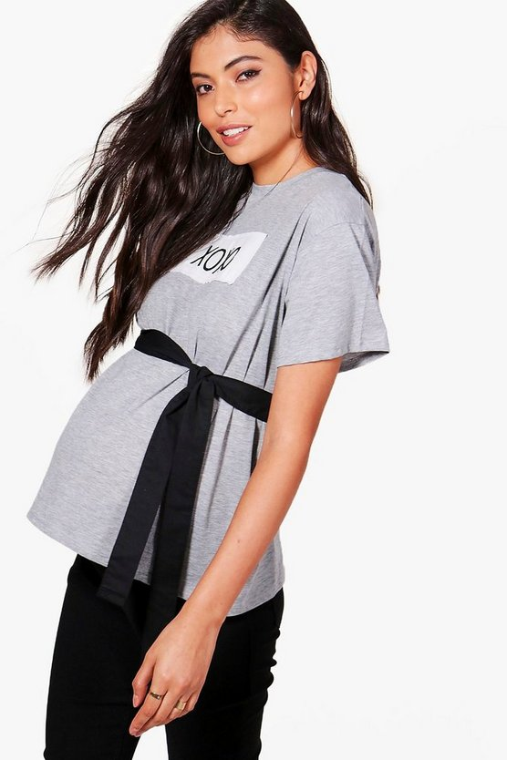Maternity Laura Slogan Tie Waist Oversized T-Shirt