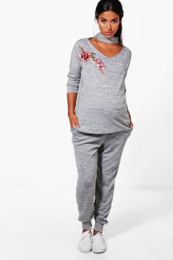 Maternity Ellie Choker Embroidered Loungewear Set