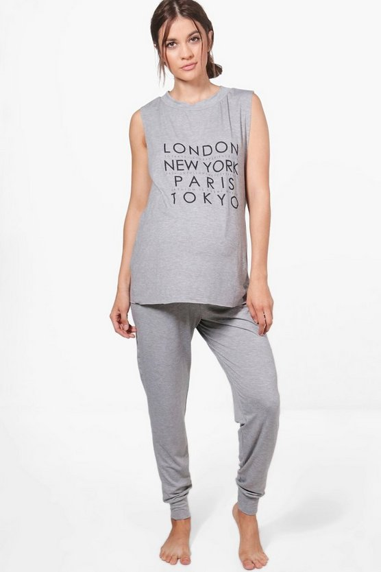 Maternity Sophia Slogan Printed PJ Set