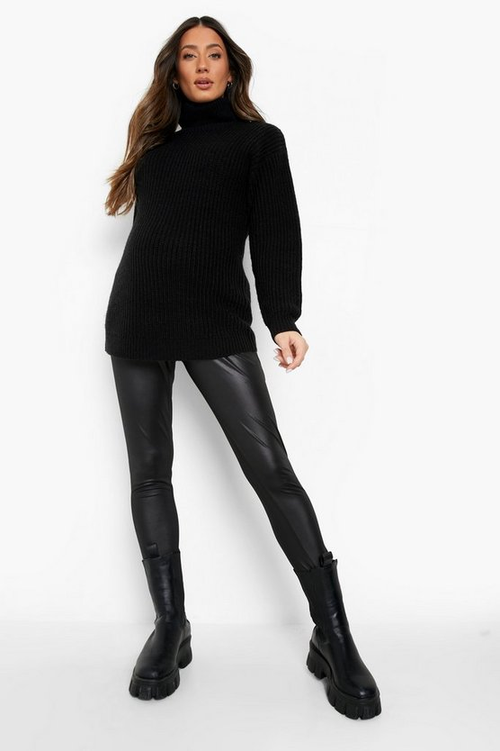 Maternity  Leather Look Over The Bump Legging