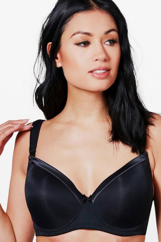 Maternity Eva  Black Satin Micro Nursing Bra