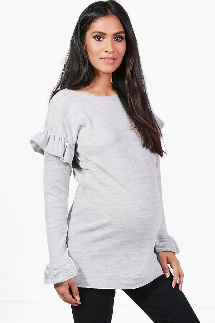 Maternity Kylie Ruffle Sleeve Knitted Top
