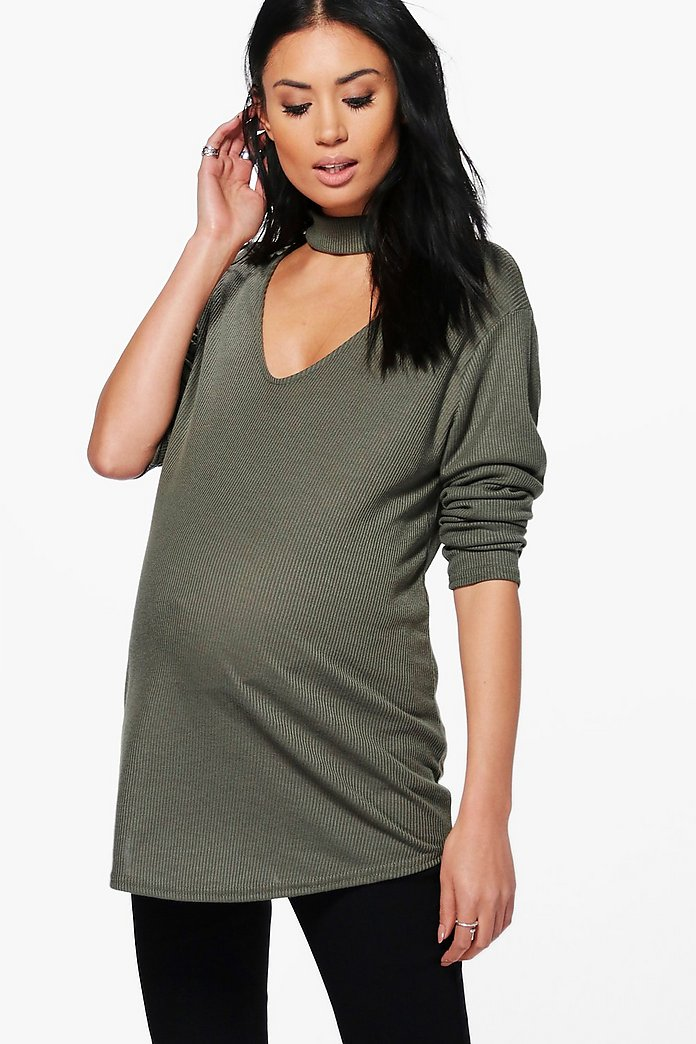 Maternity Ava Choker Ribbed Top