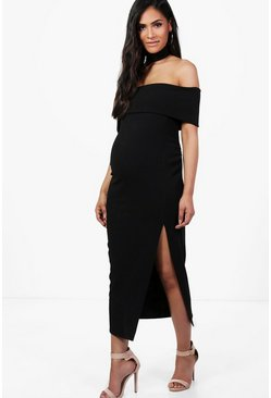 Maternity Freya Choker Off Shoulder Midi Dress