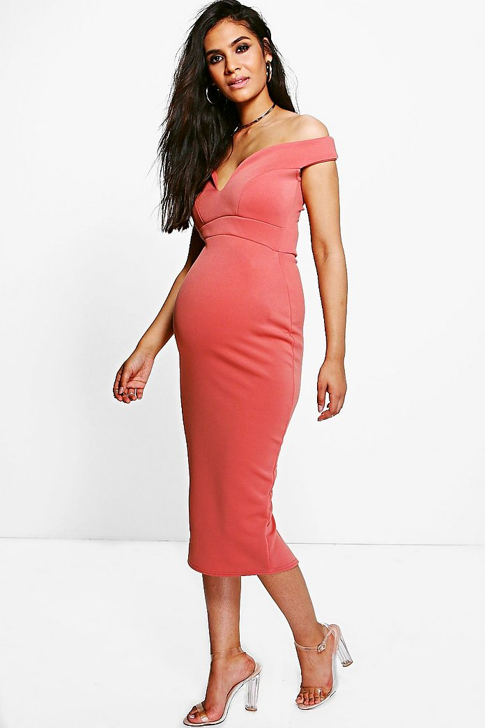 Maternity Maria Sweetheart Off The Shoulder Midi Dress