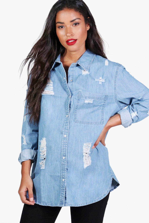 Womens Mama Isla Übergroßes Hemd aus Denim in extremer Used-Optik - Blau - 36, Blau - Boohoo.com