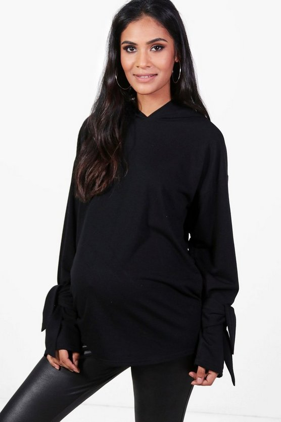 Maternity Tia Tie Sleeve Hooded Sweat Top