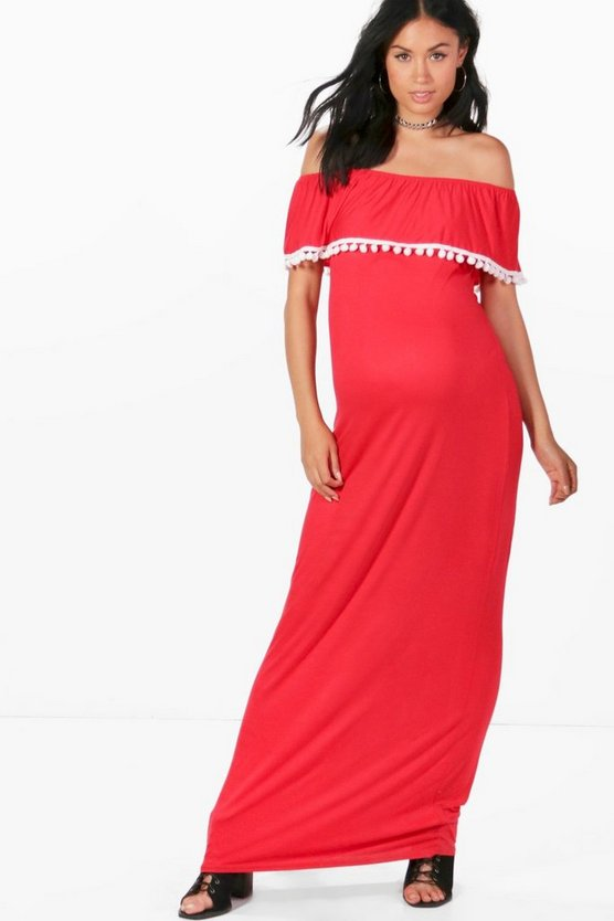 Maternity Rosie Off The Shoulder Pom Pom Maxi Dress